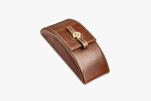 Moral Code Preston Eyeglass Case - Brown - leather eyeglass case standing upright, closed