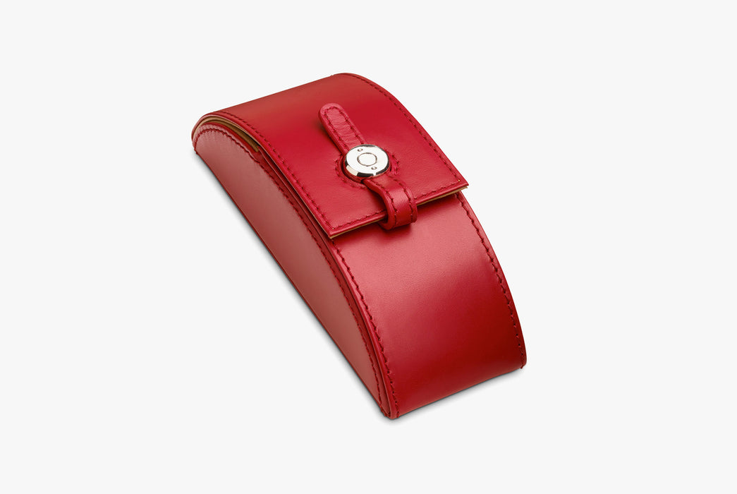 Moral Code Preston Eyeglass Case - Red - leather eyeglass case standing upright, closed