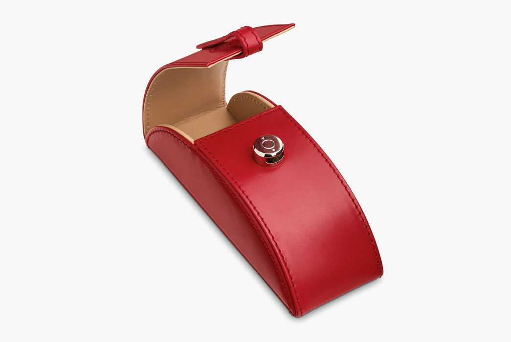 Moral Code Preston Eyeglass Case - Red - leather eyeglass case standing upright, open