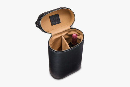 Moral Code Sommelier Wine Carrier - Black - leather wine carrier standing upright, partially open and holding a bottle of wine