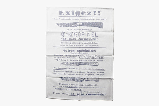 Opinel Kitchen towel - Exigez - unfolded towel with french words and illustrations of various knives