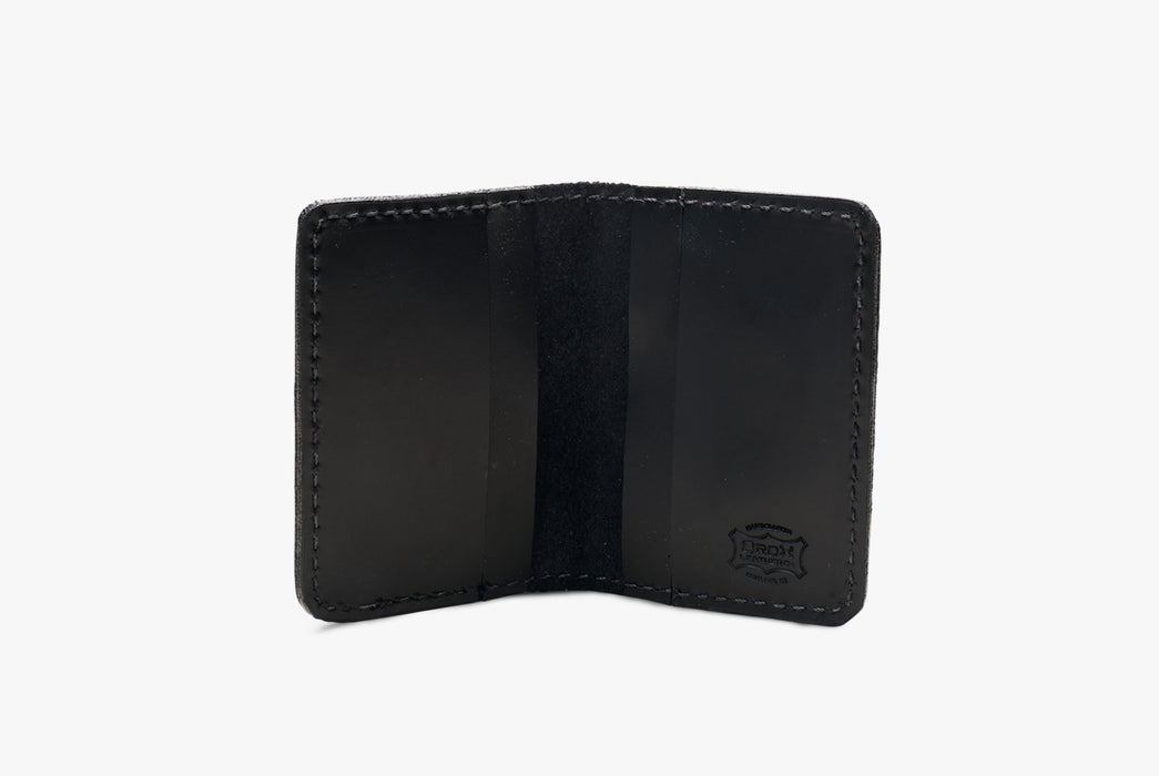 Black Orox Leather Co. Arida Classic Card Case - standing up, open