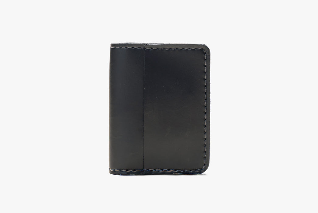 Black Orox Leather Co. Arida Classic Card Case - standing up, folded closed