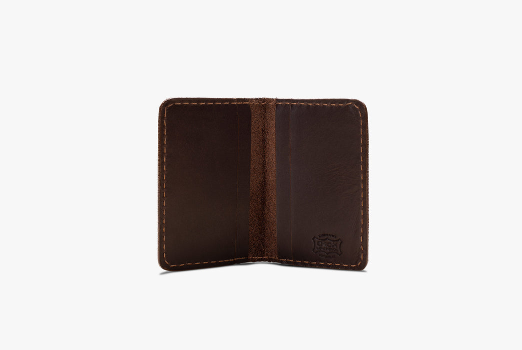 Brown Orox Leather Co. Arida Classic Card Case - standing up, open