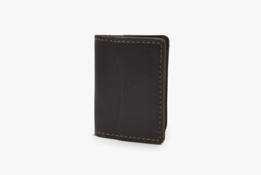 Brown Orox Leather Co. Arida Classic Card Case - standing up, folded closed