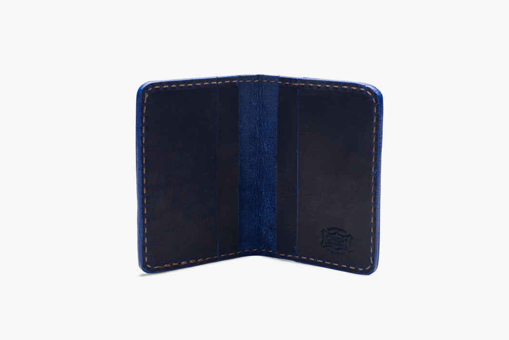 Blue Orox Leather Co. Arida Classic Card Case - standing up, open