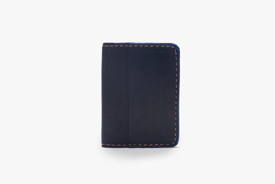 Blue Orox Leather Co. Arida Classic Card Case - standing up, folded closed