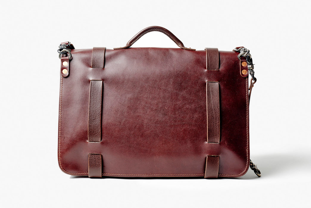 Orox Leather Co. Nuntius X Briefcase - Brown - back view of bag standing up
