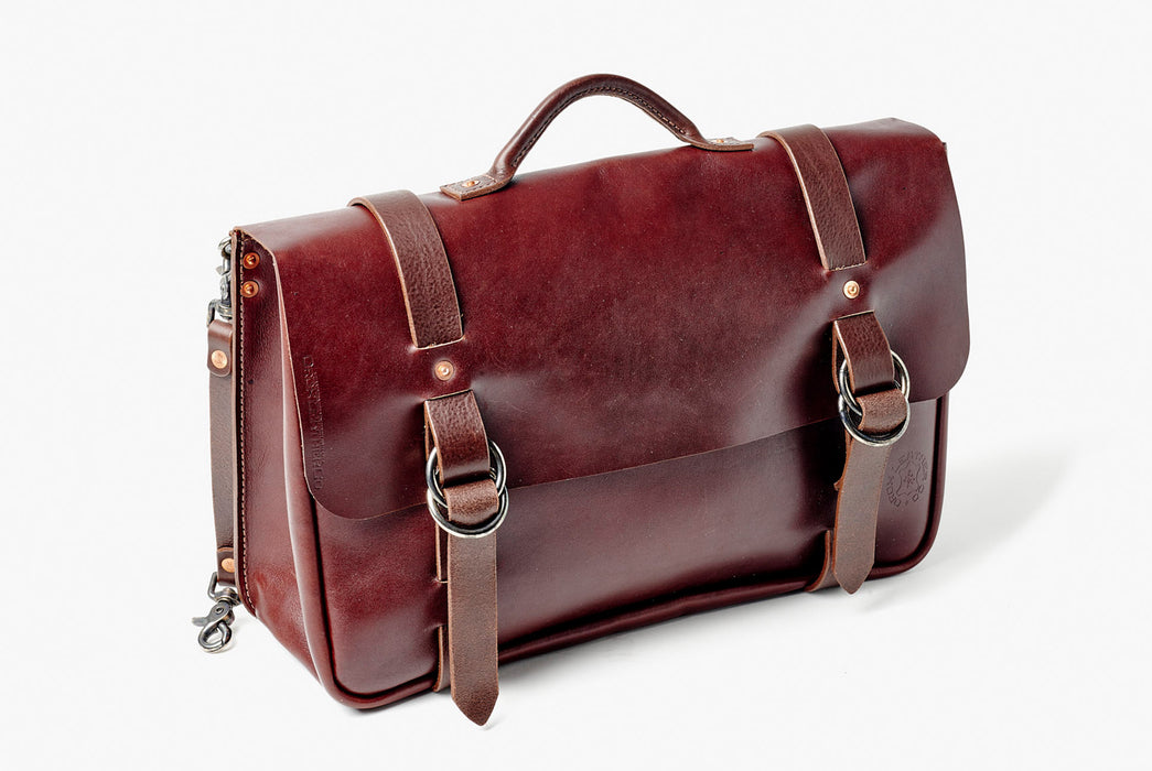Orox Leather Co. Nuntius X Briefcase - Brown - diagonal view of bag standing up