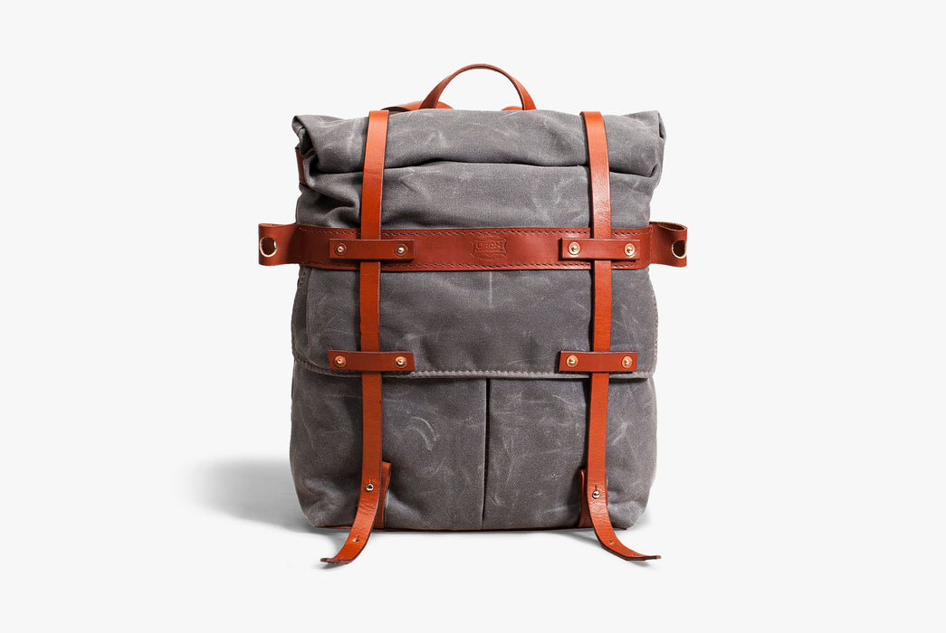 Orox Leather Co. Parva Rucksack - Gray - front view of bag standing up