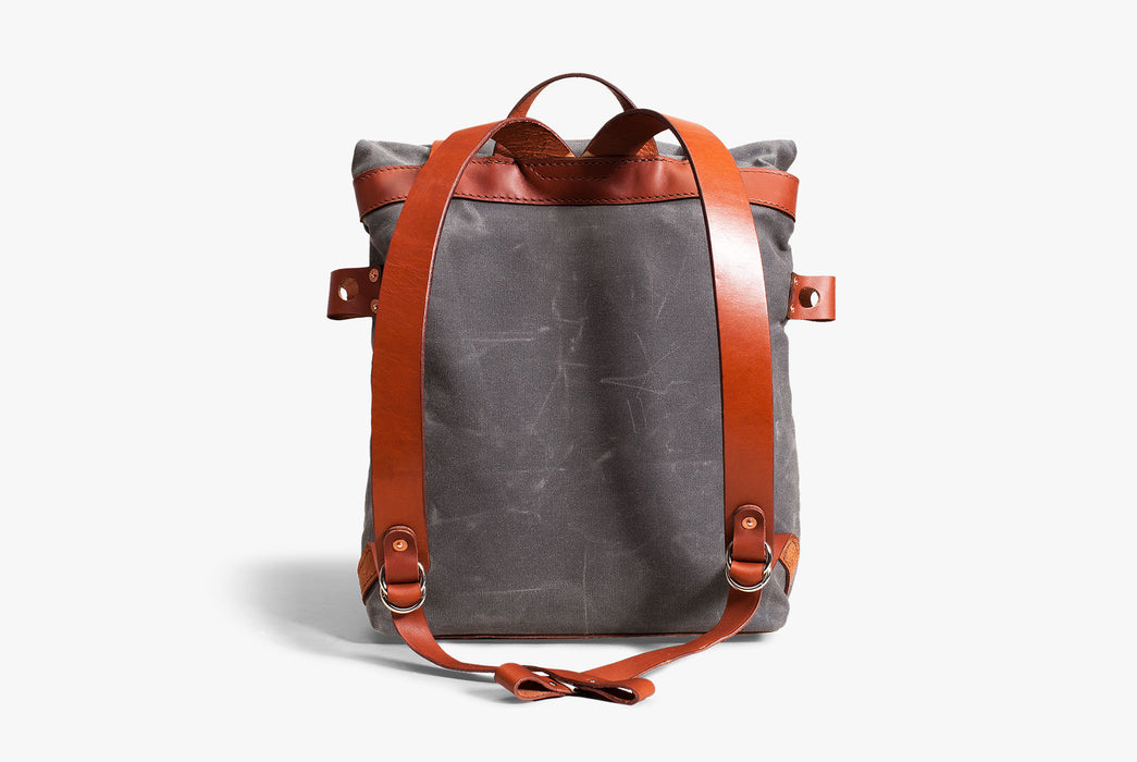 Orox Leather Co. Parva Rucksack - Gray - back view of bag standing up, showing leather straps