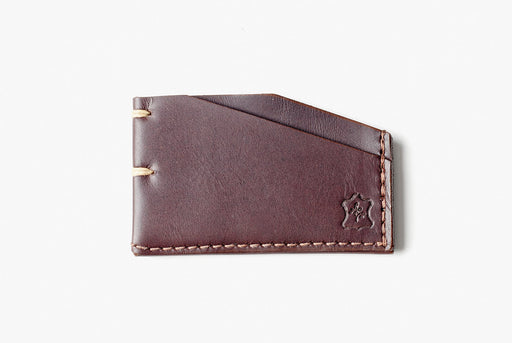 Orox Leather Co. Slim Cardholder - Brown - top-down view of cardholder on a white surface