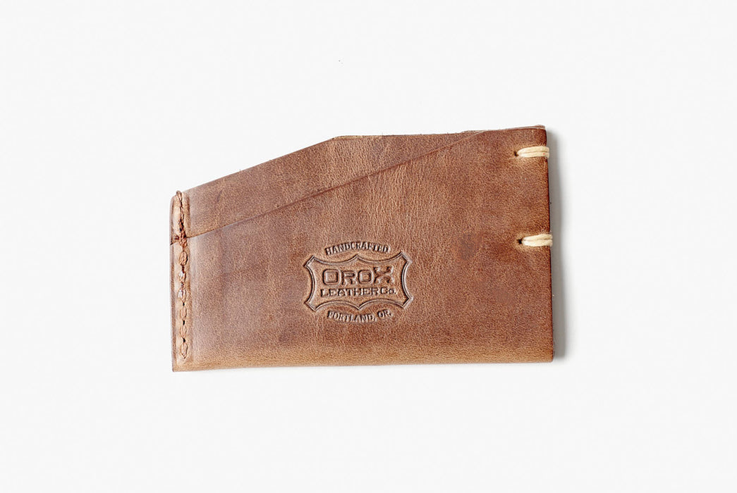 Orox Leather Co. Slim Cardholder - Natural - back view showing Orox logo and side stitching