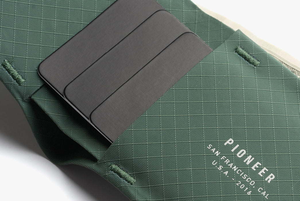 Evergreen - Pioneer Flyfold Wallet - Close up with cards in wallet