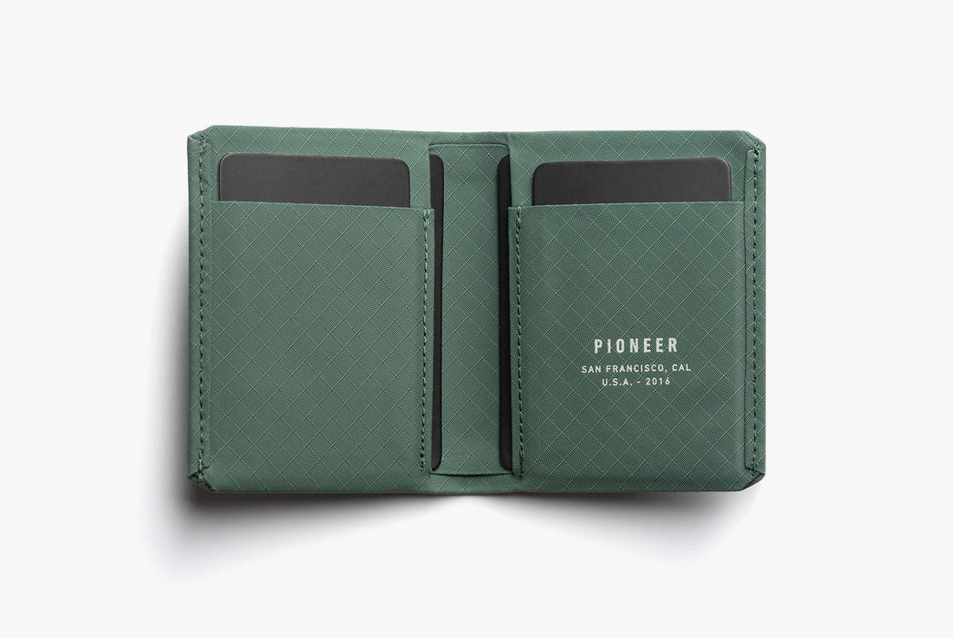 Evergreen - Pioneer Matter Bifold Wallet - Open with cards