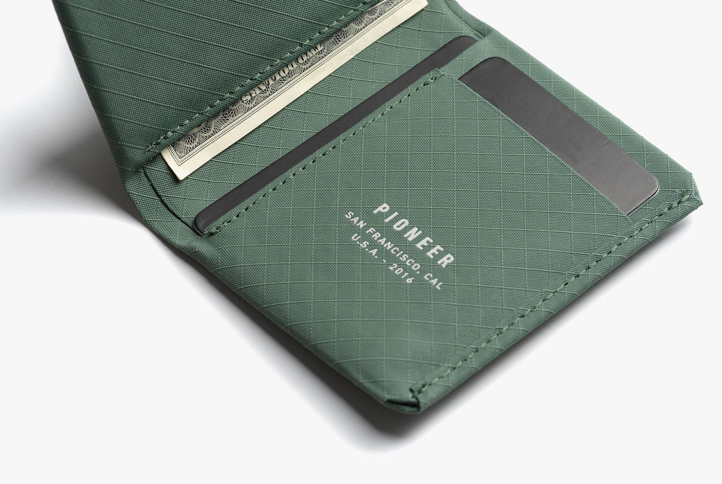 Evergreen - Pioneer Matter Bifold Wallet - Open with cash and cards