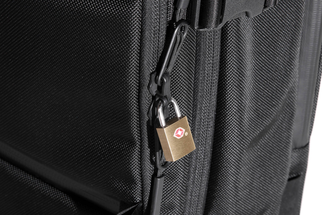 Black Travel Pack - Lock Closeup