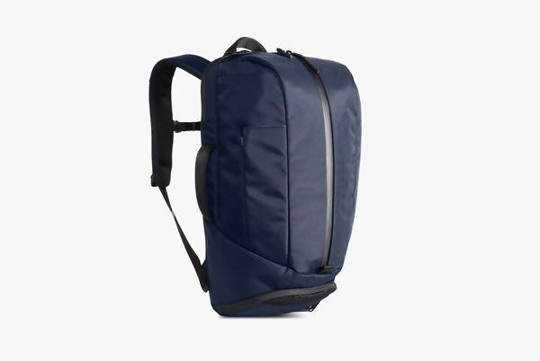 Navy Duffel Pack Standing Up - Front View