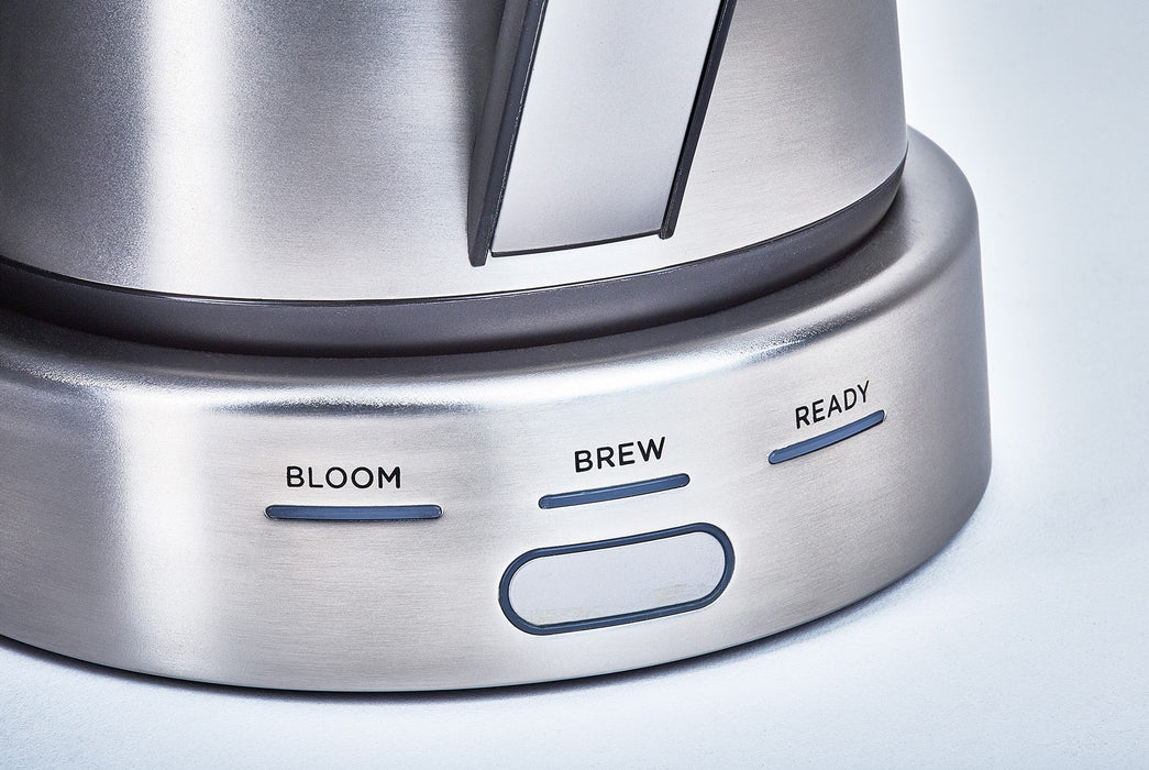 Stainless Steel - Ratio Six Coffee Maker - Close up of start button and brew lights