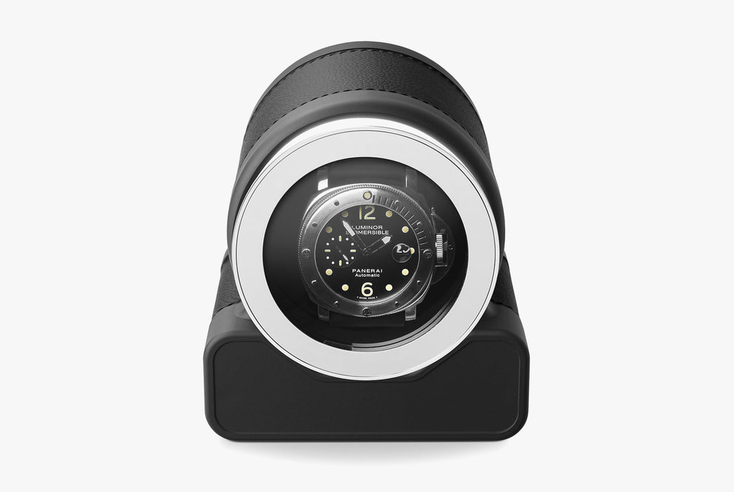 Black - Scatola del Tempo Rotor One Watch Winder - With watch inside