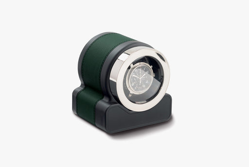 Green - Scatola del Tempo Rotor One Watch Winder - With watch inside, angled photo