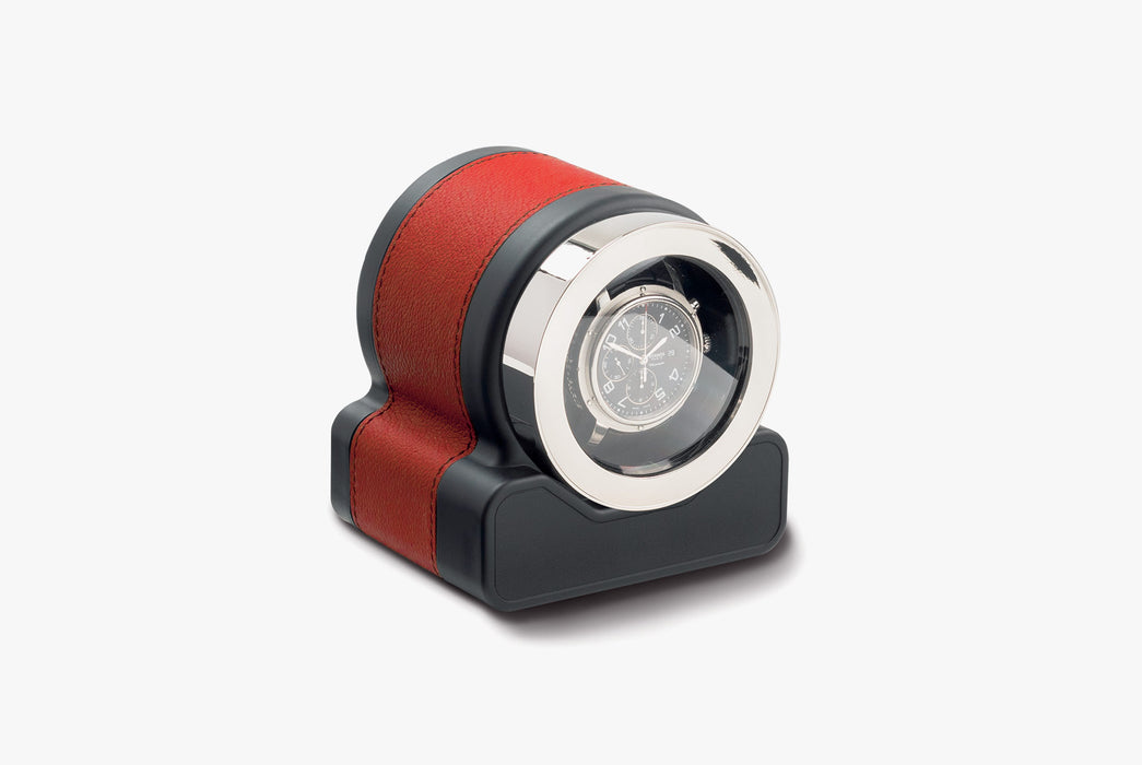 Red - Scatola del Tempo Rotor One Watch Winder - With watch inside, angled photo