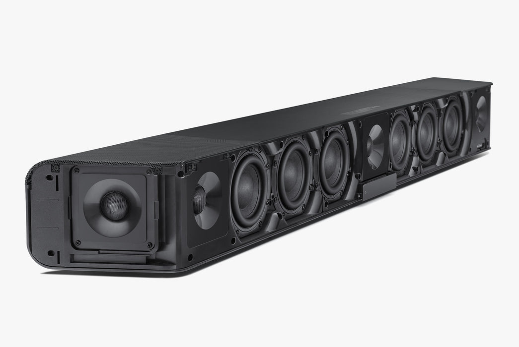 Sennheiser AMBEO Soundbar - Angled photo with speaker cover removed
