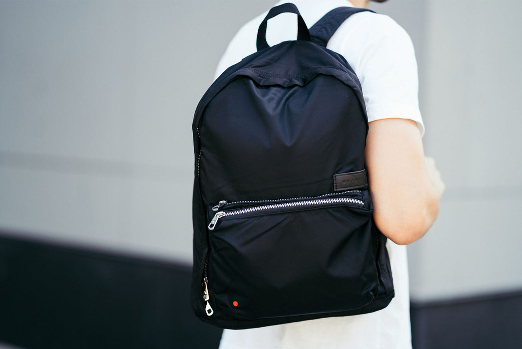 Black - STATE Lorimer Nylon Backpack - On persons shoulder