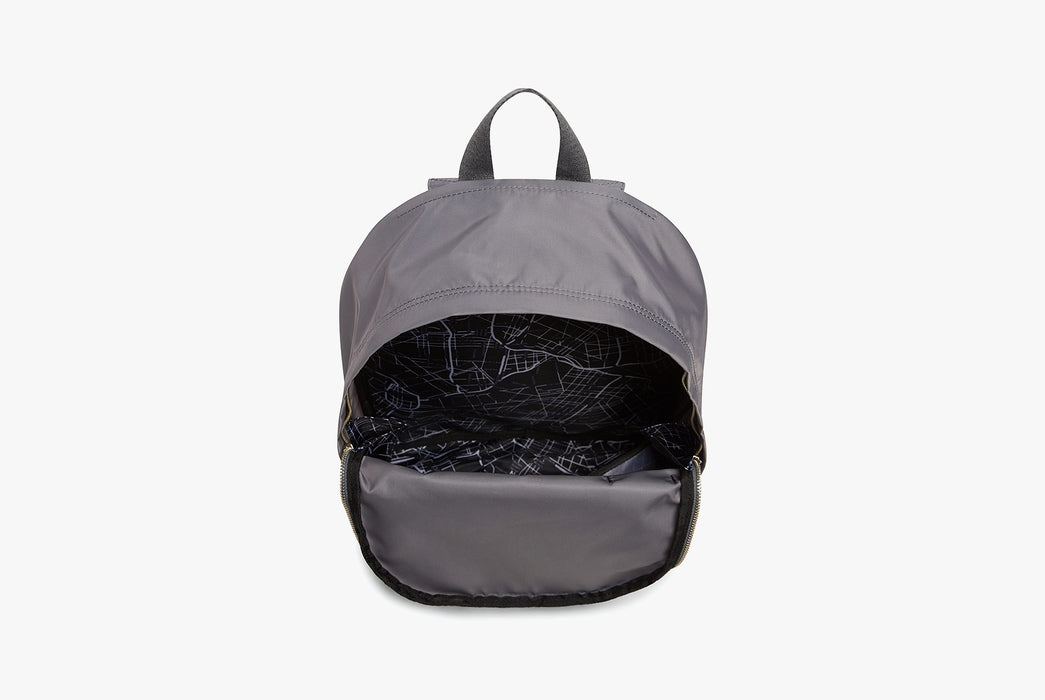 Steel Grey - STATE Lorimer Nylon Backpack - Bag open