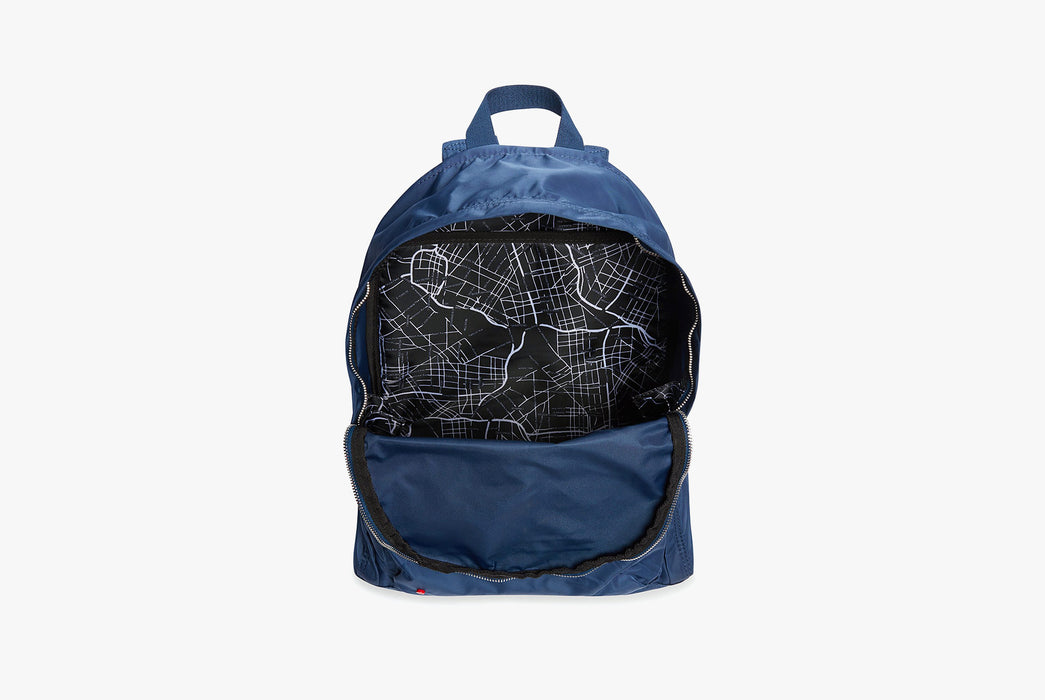 Navy - STATE Lorimer Nylon Backpack - Bag open