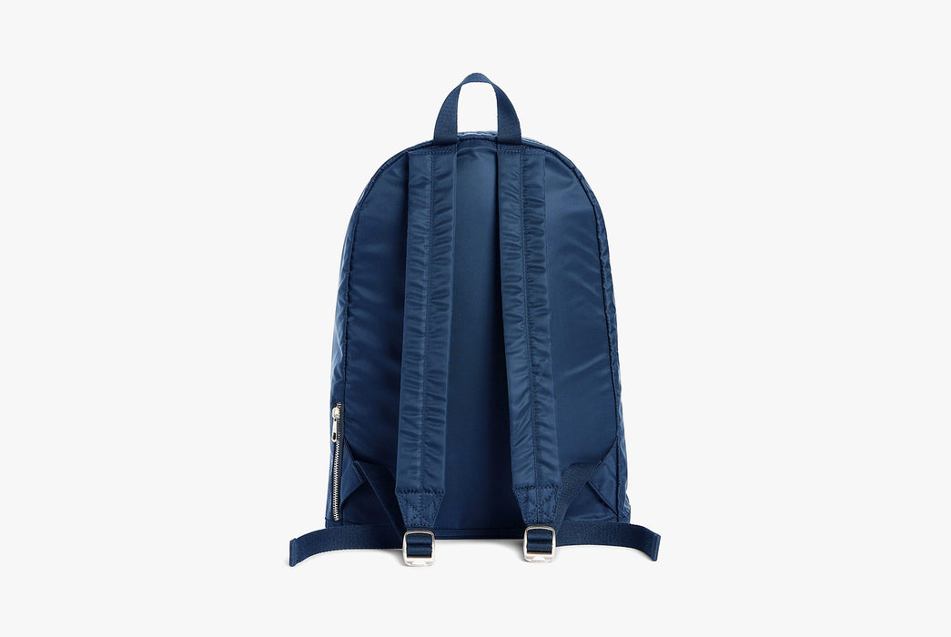 Navy - STATE Lorimer Nylon Backpack - Strap side of bag