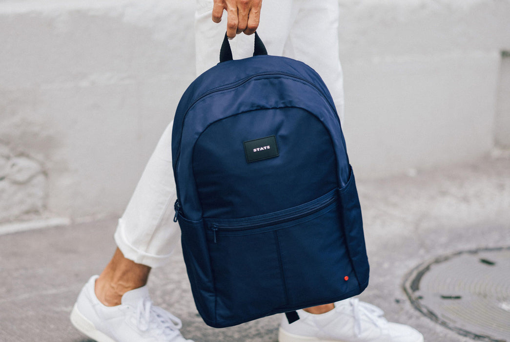 Navy - STATE Marshall Large Nylon Backpack - In persons hand