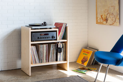 Symbol Audio MAX Turntable Stand - With records, turntable and receiver in living room