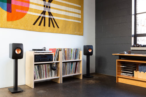 Symbol Audio MAX Record Stand - Filled with records, side by side with Turntable Stand with speakers, turntable and receiver