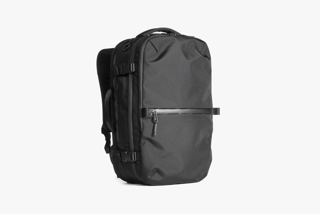 Black Travel Pack Standing Up - Front View