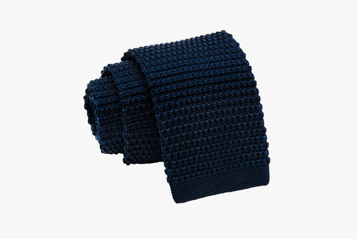 The Dark Knot Livingston Navy Knitted Silk Tie