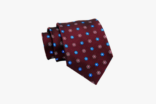 The Dark Knot Berkshire Abstract Silk Tie - Burgundy/Blue