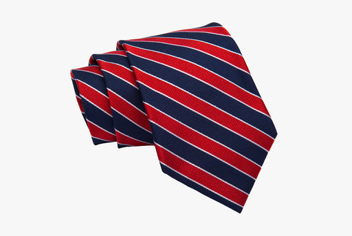 The Dark Knot Canterbury Regimental Silk Tie - Navy/Red