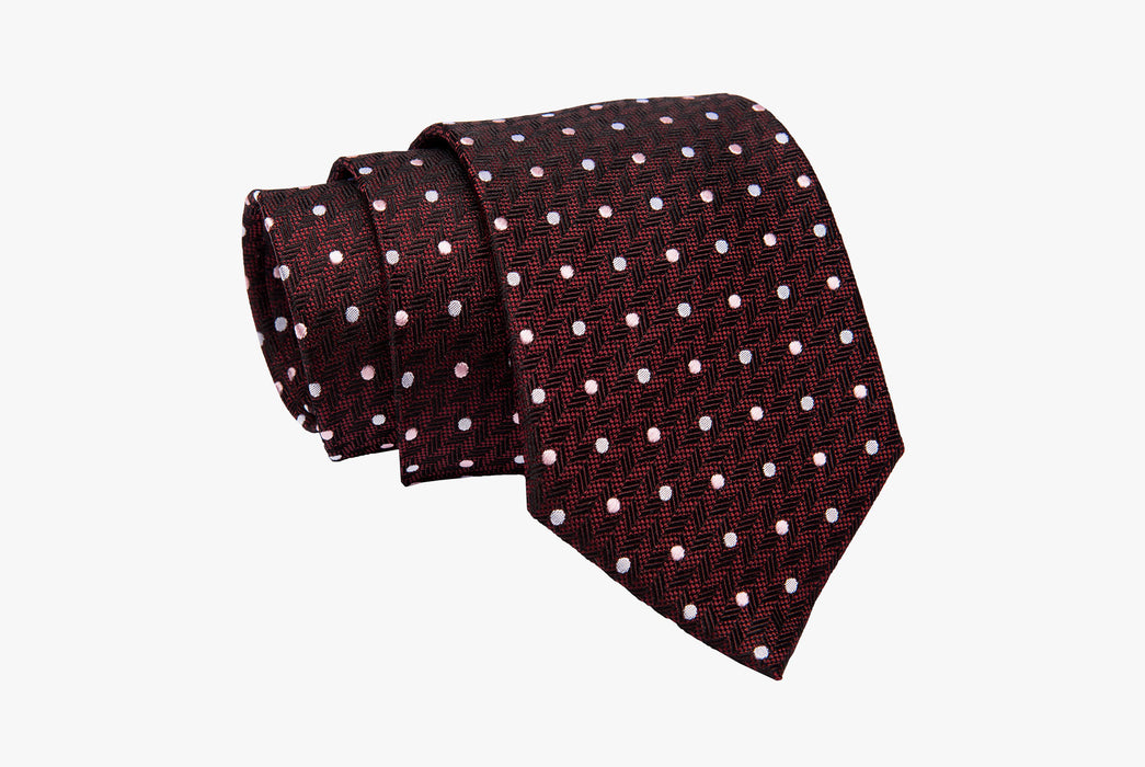 The Dark Knot Newport Dots Burgundy Silk Tie