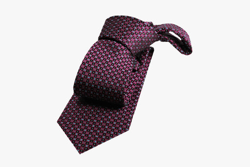 The Dark Knot Stafford Squares Silk Tie - Burgundy/Light Blue