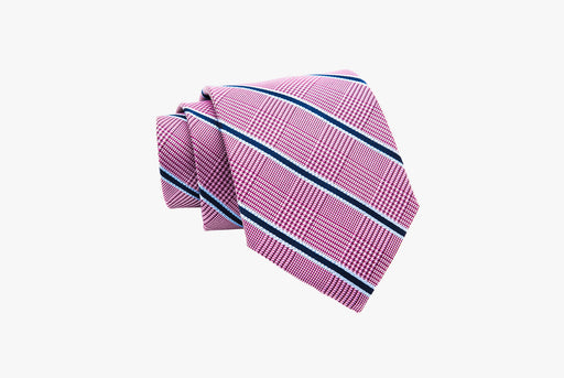 The Dark Knot Wilton Stripes Silk Tie - Pinkish Red/Navy