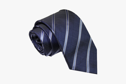 The Dark Knot Wilton Stripes Silk Tie - Blue/Light Blue/Silver