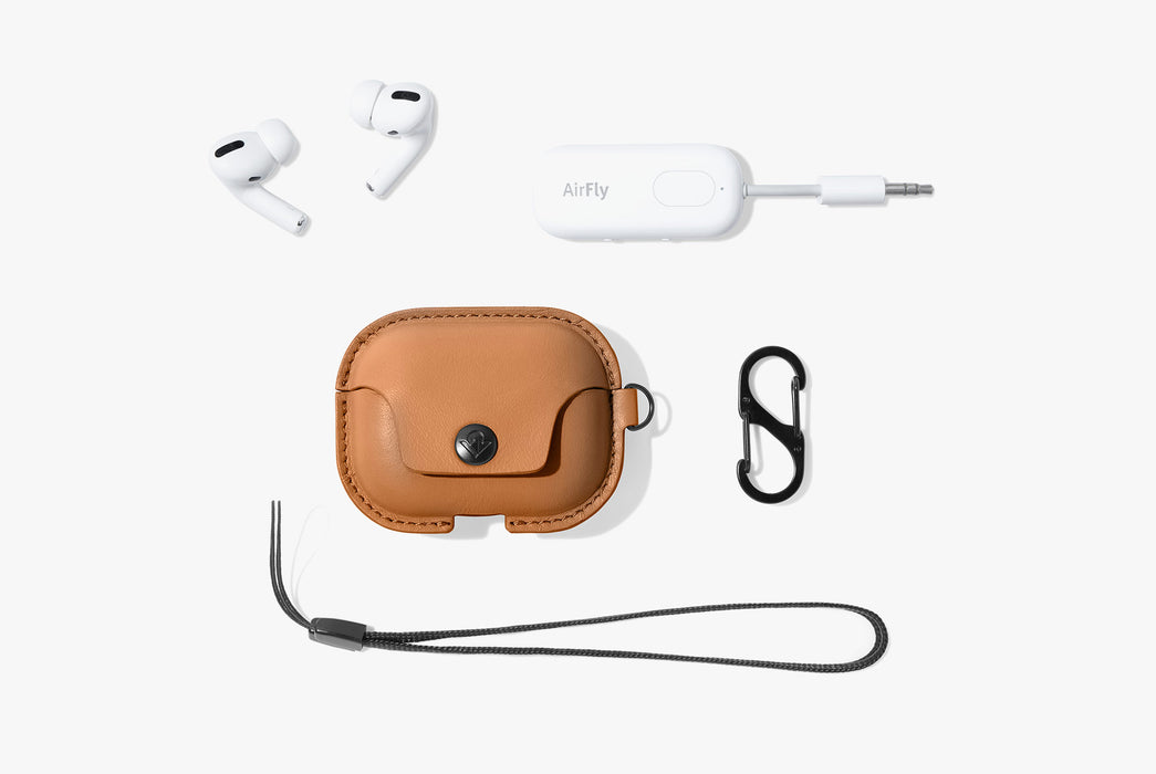 Cognac - Twelve South AirSnap Pro Leather Case For AirPod Pro + AirFly Pro Bluetooth Transmitter Exclusive Bundle