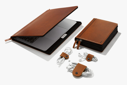 "Twelve South Journal For MacBook 13"" + Journal CaddySack + Cognac CableSnaps Exclusive Bundle"