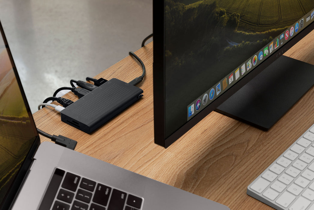 Stay Go USB-C Hub - On Desk plugged into computer