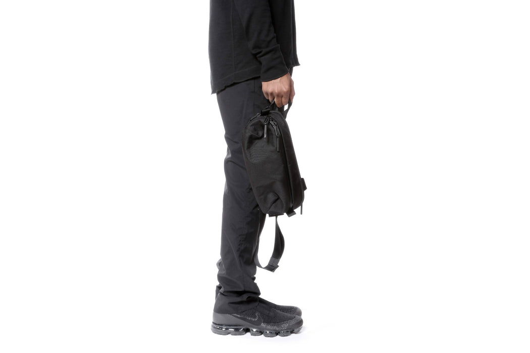 Black Sling Bag - On Model - In Hand