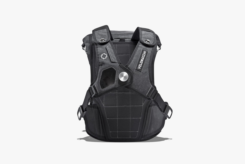 Velomacchi Speedway 40L Backpack - Strap side of bag with chest strap buckled