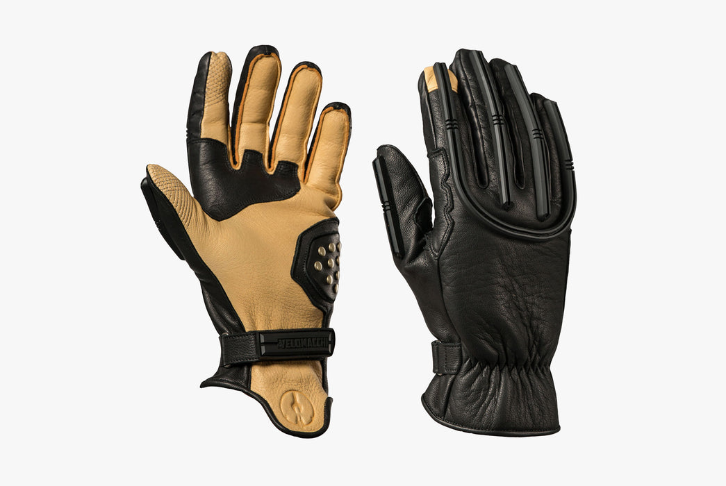 Black/Tan - Velomacchi Speedway Gloves - Palm side of glove image and back of hand image
