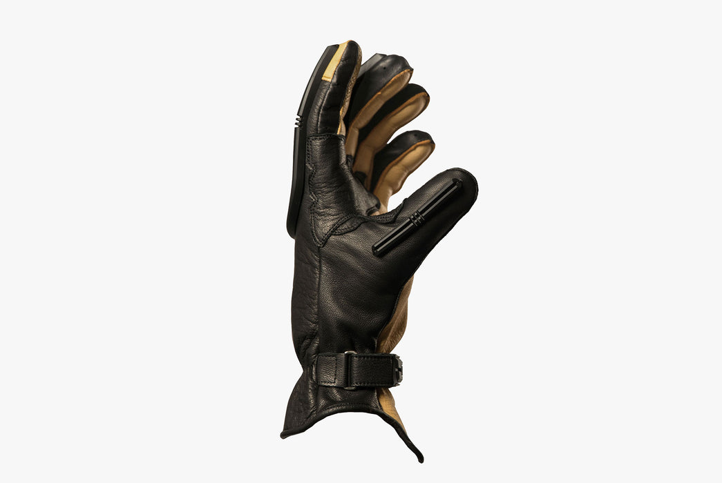 Black/Black - Velomacchi Speedway Gloves - Showing thumb protection