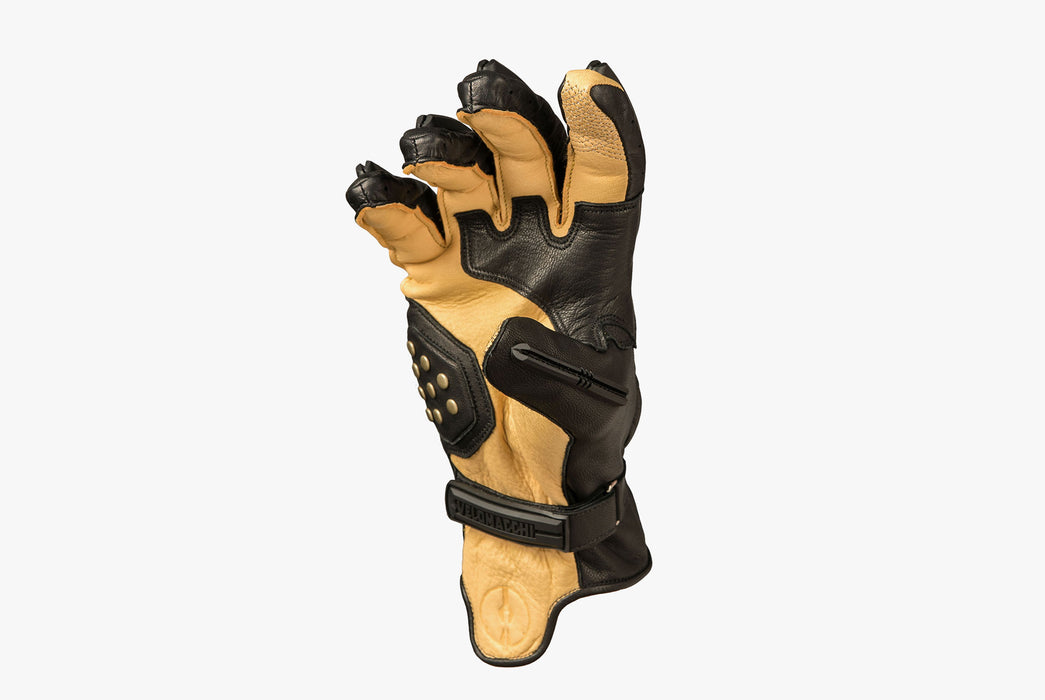 Black/Tan - Velomacchi Speedway Gloves - Palm side of glove with fingers bent